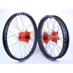 PAIRE DE ROUES SM PRO KTM SX/SXF 125/250/350/450 03/18 ORANGE/NOIR/ (21-19X2.15)