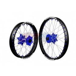 SMP PAIRE ROUES YZ 125/250 YZF 250 /450 14/18   BLUE BLACK BLUE 21/19X2.15